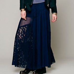 FP One Patchwork Lace Maxi Skirt Blue M
